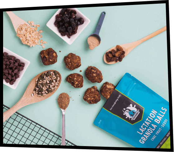 Super Boober Lactation Cookies with ingredients and utensils