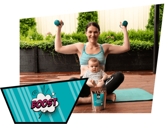 Mum holding dumbbells with baby and lactation protein smoothie with popart saying boost