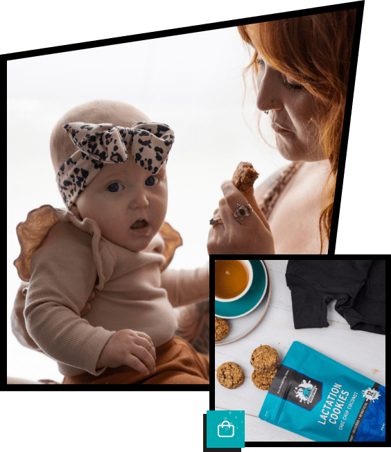 Mum eating a super boober lactation cookie with baby with mouth open